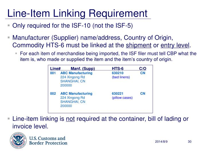 Line-Item Linking Requirement