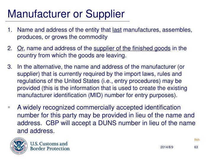 Manufacturer or Supplier