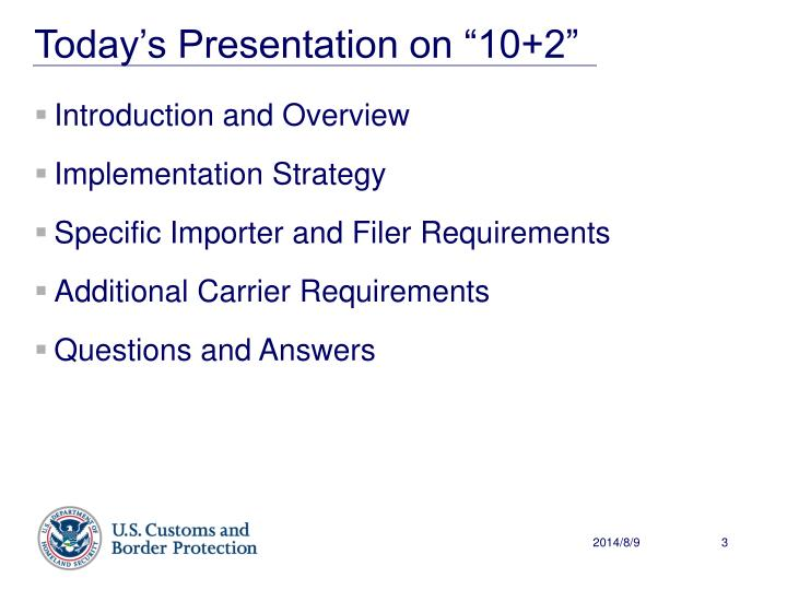 Today s presentation on 10 2