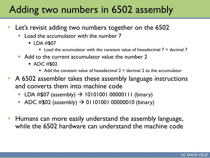 Adding two numbers in 6502 assembly