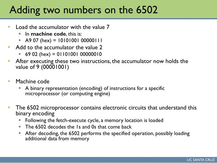 Adding two numbers on the 6502