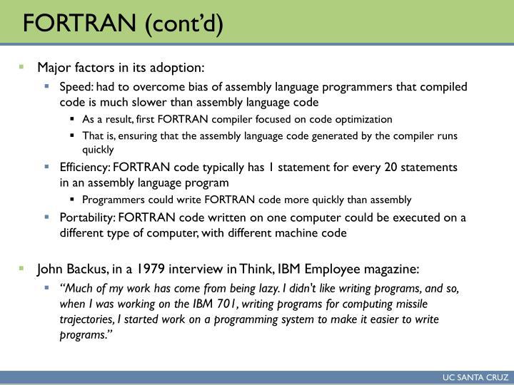 FORTRAN (cont'd)