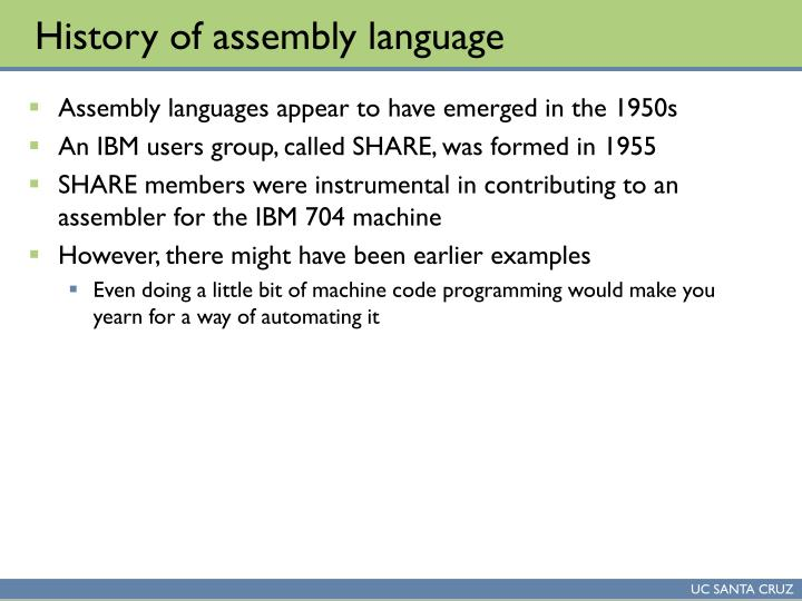 History of assembly language