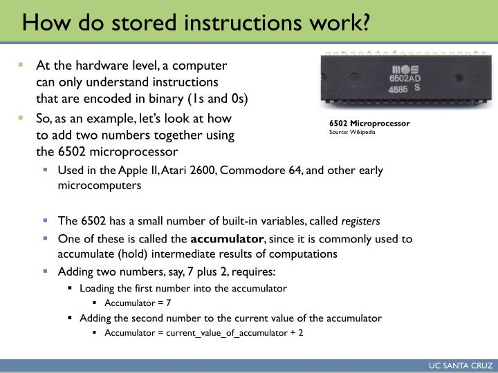 How do stored instructions work?
