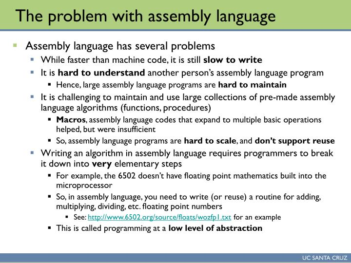 The problem with assembly language