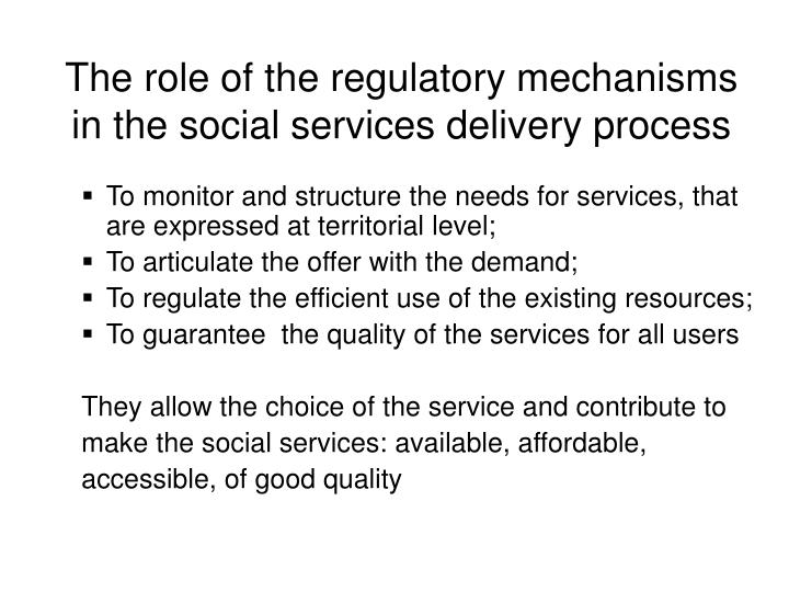 The role of the regulatory mechanisms in the social services delivery process