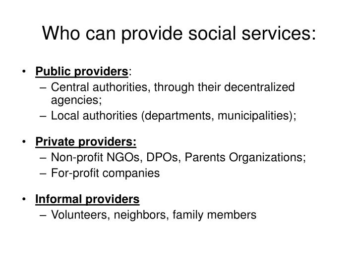 Who can provide social services: