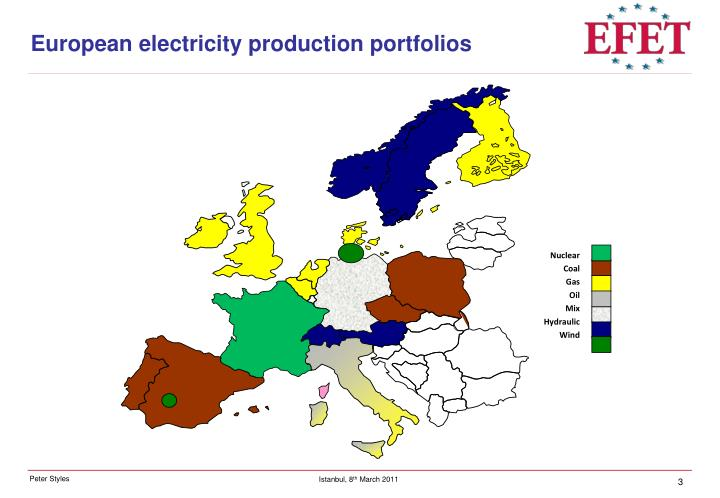 European electricity production portfolios