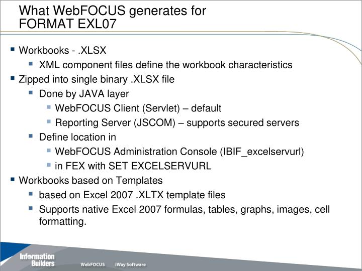 What WebFOCUS generates for