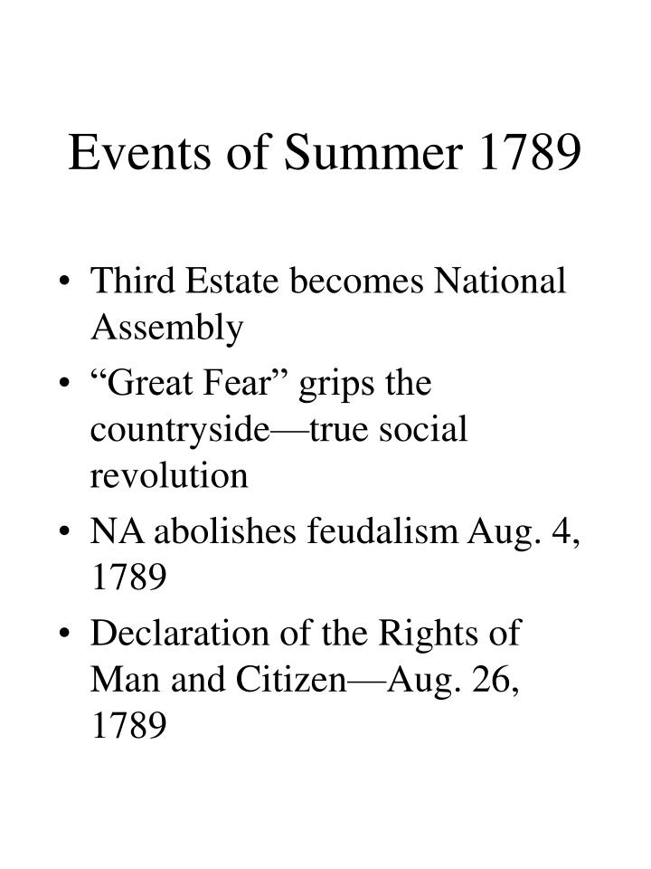 Events of Summer 1789