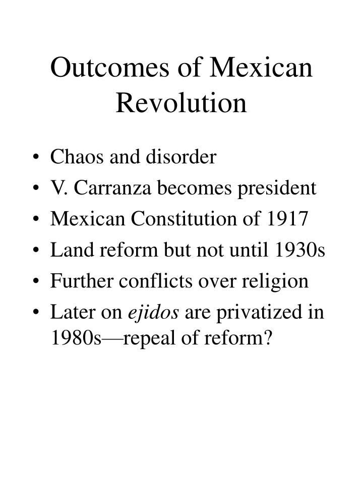 Outcomes of Mexican Revolution