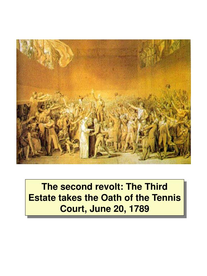 The second revolt: The Third Estate takes the Oath of the Tennis Court, June 20, 1789
