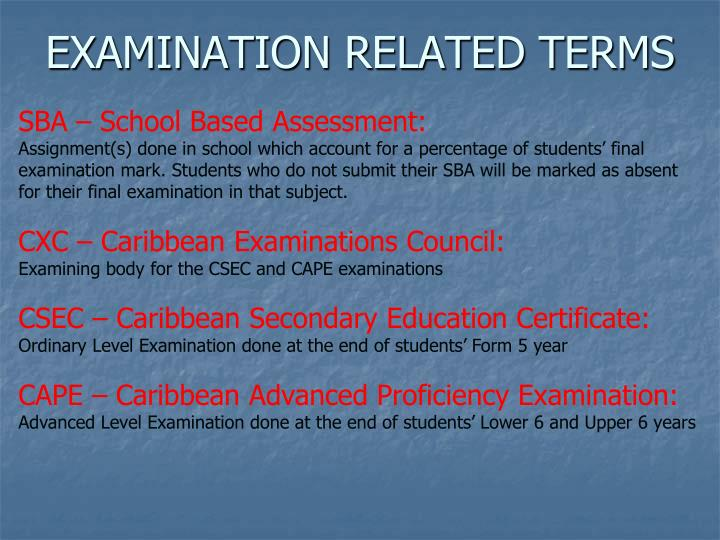 EXAMINATION RELATED TERMS