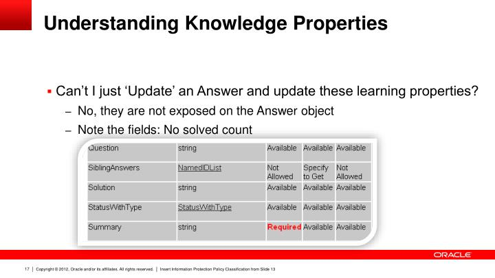 Understanding Knowledge Properties