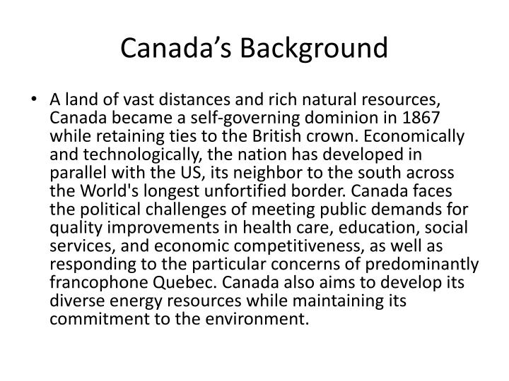 Canada's Background