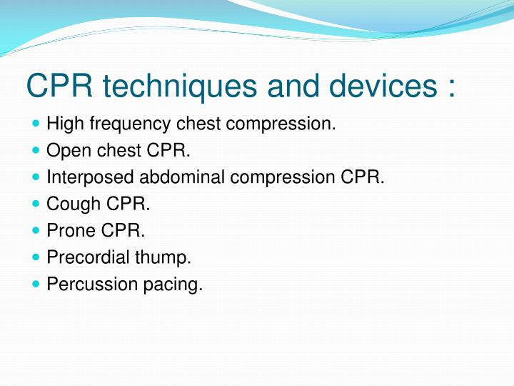 CPR techniques and devices :