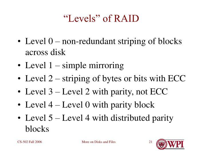 """""""Levels"""" of RAID"""