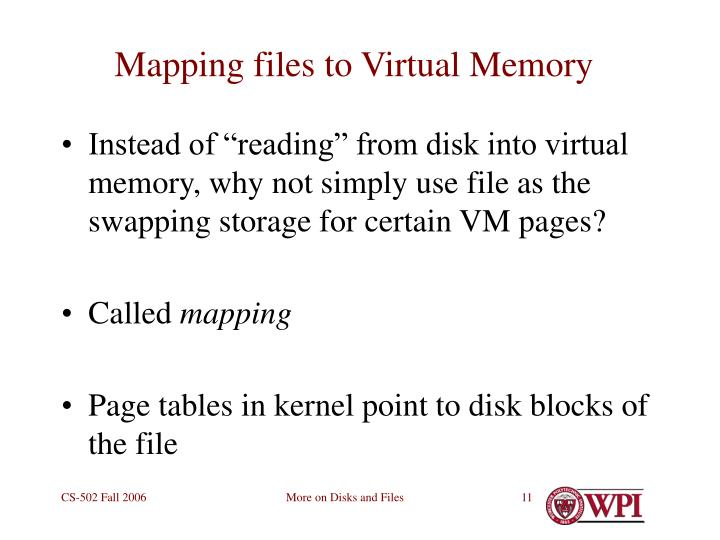 Mapping files to Virtual Memory