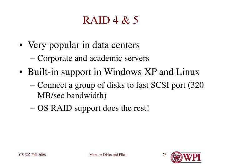 RAID 4 & 5