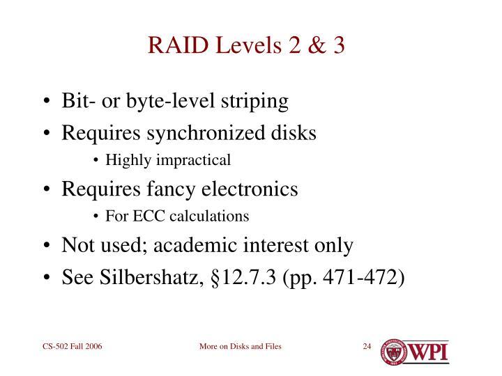 RAID Levels 2 & 3