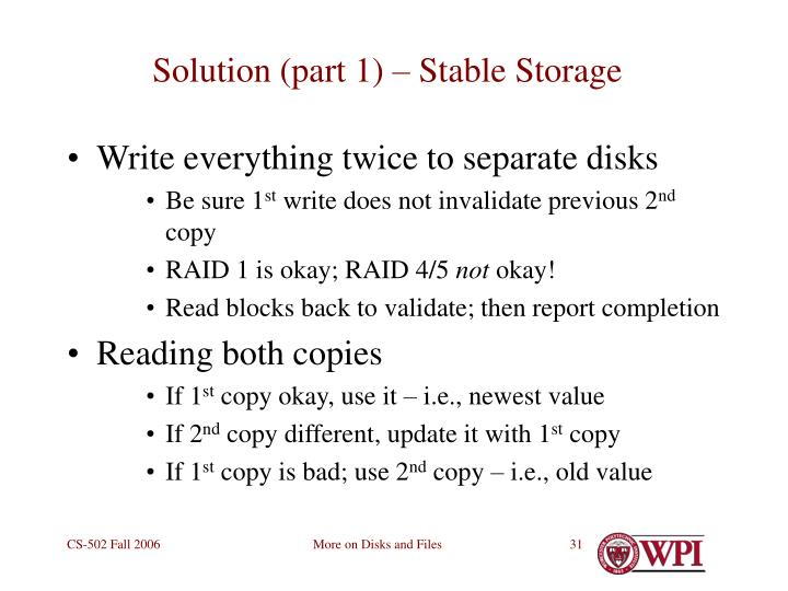 Solution (part 1) – Stable Storage