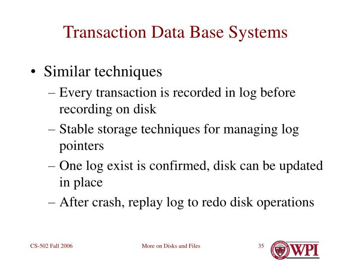 Transaction Data Base Systems