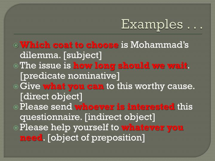 Examples . . .