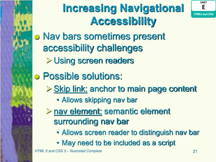 Increasing Navigational Accessibility