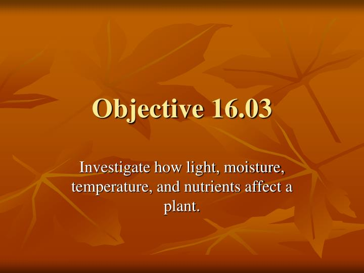 Objective 16 03