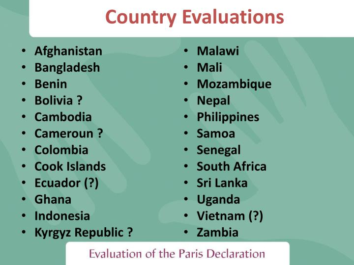 Country evaluations