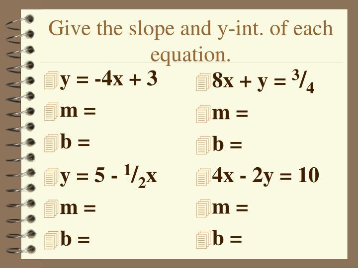 y = -4x + 3