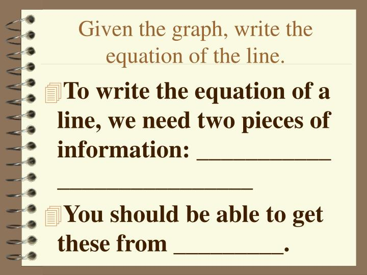 Given the graph, write the equation of the line.
