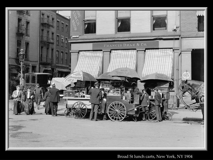 Broad St lunch carts, New York, NY 1904