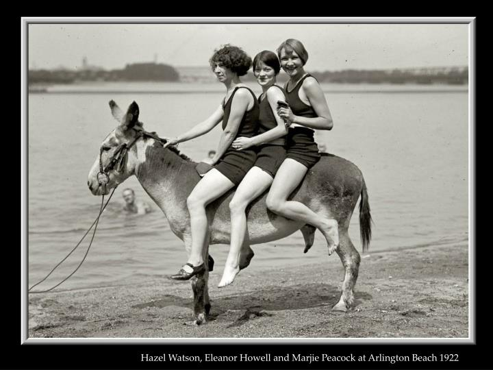 Hazel Watson, Eleanor Howell and Marjie Peacock at Arlington Beach 1922