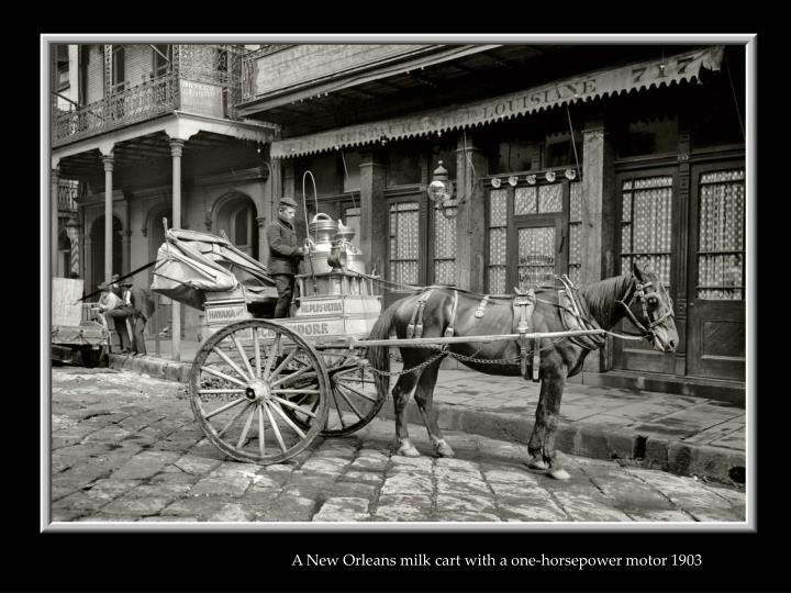 A New Orleans milk cart with a one-horsepower motor 1903