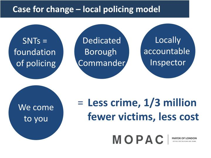 Case for change – local policing model