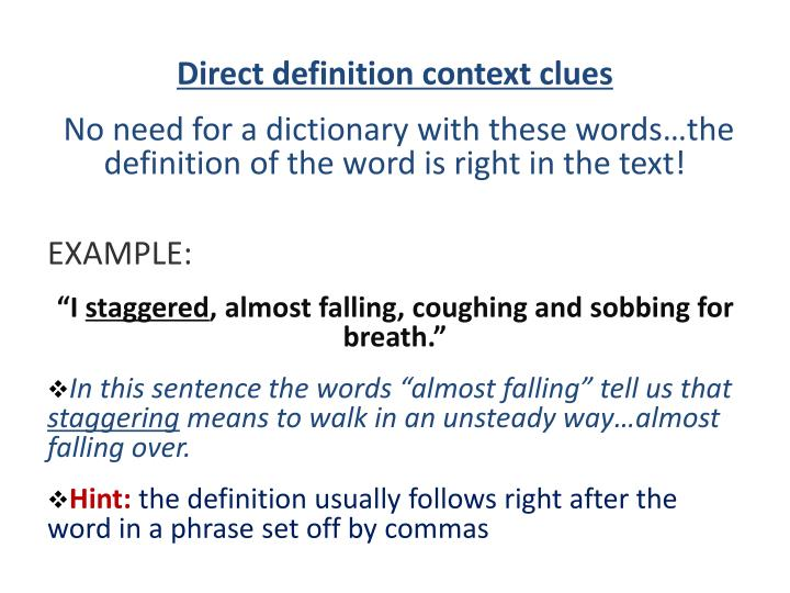 Direct definition context clues