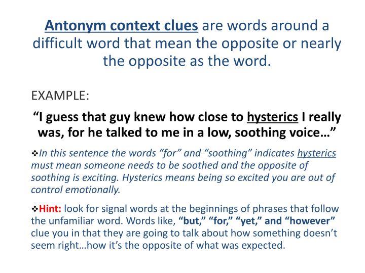 Antonym context clues