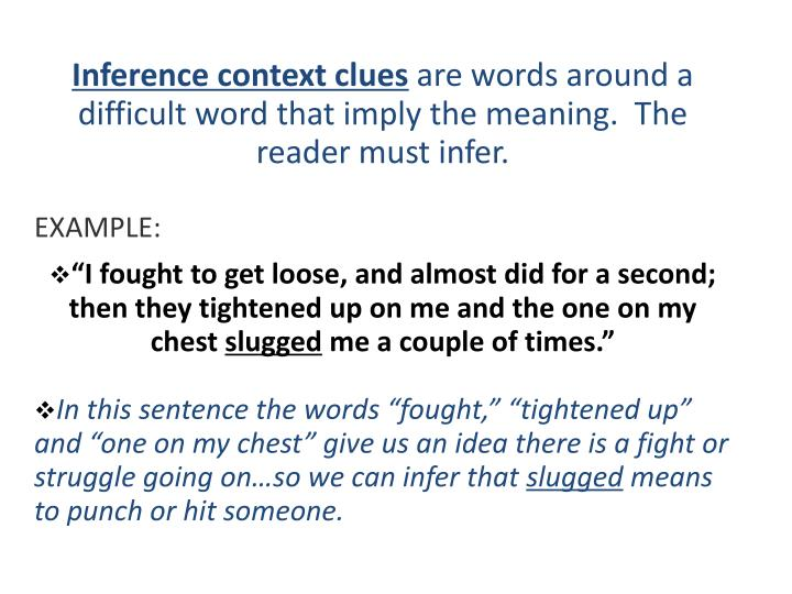 Inference context clues