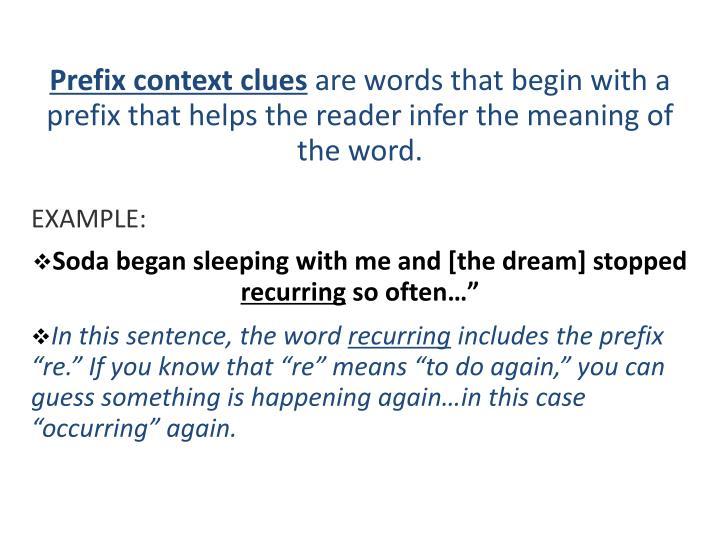 Prefix context clues