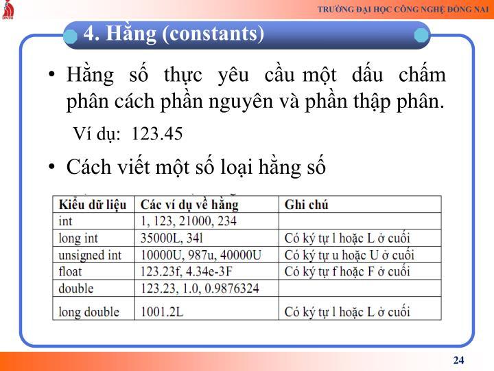 Hng  s  thc  yu  cu mt  du  chm    phn cch phn nguyn v phn thp phn.
