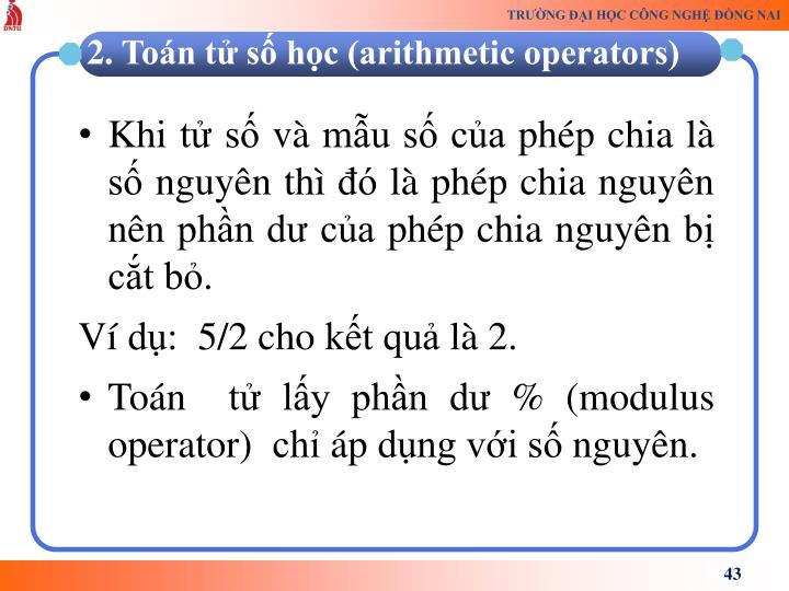 Khi t s v mu s ca php chia l s nguyn th  l php chia nguyn nn phn d ca php chia nguyn b ct b.