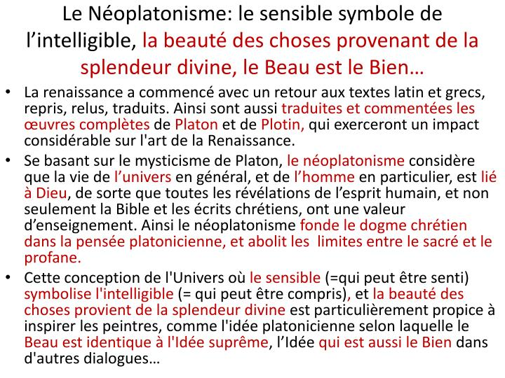 Le Néoplatonisme: le sensible symbole de l'intelligible,