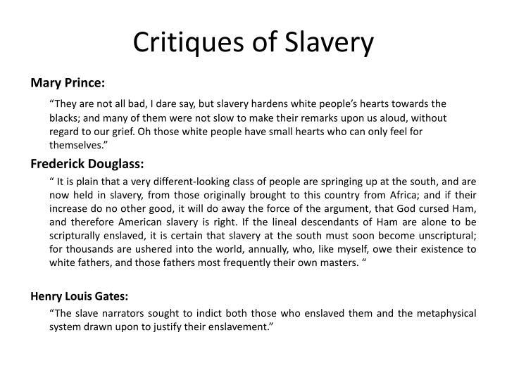 Critiques of Slavery