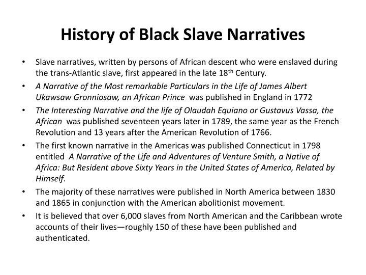 History of Black Slave Narratives