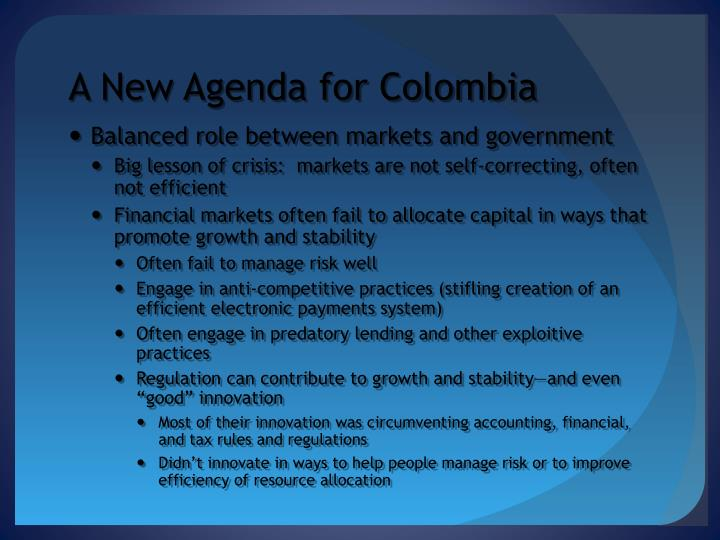 A New Agenda for Colombia