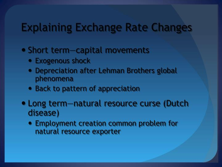 Explaining Exchange Rate Changes