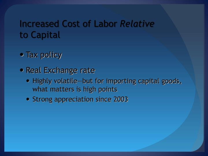 Increased Cost of Labor