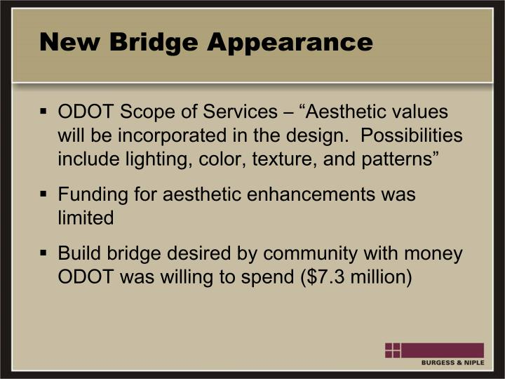 New Bridge Appearance