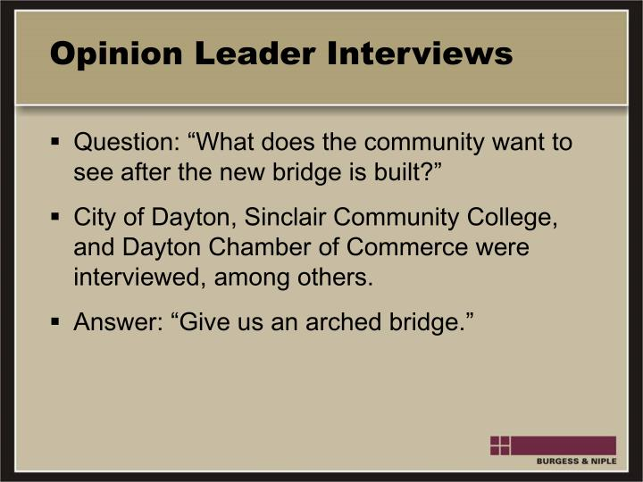 Opinion Leader Interviews
